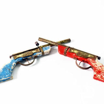 Vintage Toy Guns, Wooden Guns, Tin and Wood Guns, Chippy Paint Toy, Wood Toy Rifle, Collectible Toys, Tin Toy, Western Cowboy Toy