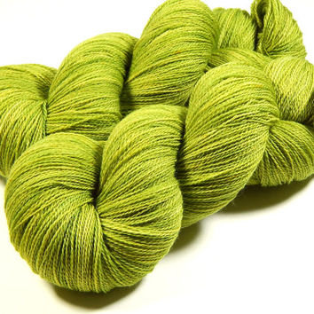 Hand Dyed Yarn - Lace Weight Superwash Merino Wool Yarn - Lettuce Tonal - Knitting Yarn, Lace Yarn, Wool Yarn, Green Yarn, Laceweight