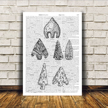Native American print Arrowhead poster Tribal art Wall decor RTA314