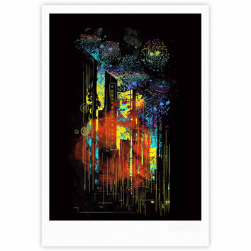 "Federic Levy-Hadida ""Starry City Lights"" Black Rainbow Fine Art Gallery Print"