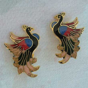 Cloisonne Peacock Clip On Earrings Colorful Bird of Paradise Vintage Jewelry