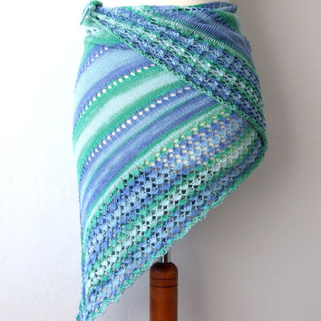 green blue knit cotton triangle shawl