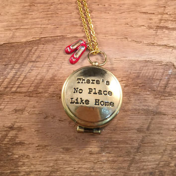Compass Necklace, There's No Place Like Home, Wizard of Oz Necklace, The Wizard of Oz, Gold Compass, Gold Quote Compass, Gift for Her