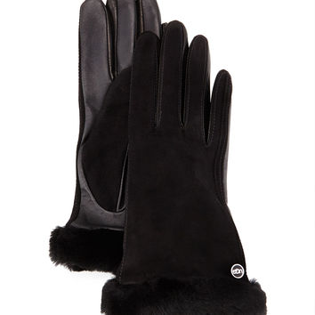 Classic Fur-Trim Suede Smart Gloves, Size: