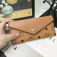 MCM Fashion Women Leather Multicolor Wallet Purse Brown I-AGG-CZDL