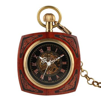 Retro Bronze Square Mahogany Open Face Pocket Watch Steampunk Automatic Self-Wind Women Men Gift Automatic Fob Watches