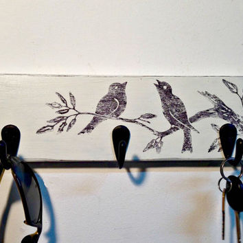 Rustic wall mount bird key rack, entryway storage rustic key holder, dog leash holder, bird key hooks