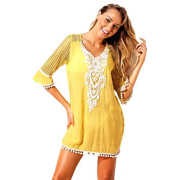 Pineapple Crochet Pom Pom Trim Beach Tunic Cover up