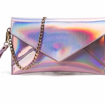 Holographic Envelope Clutch with Gold Shoulder Chain