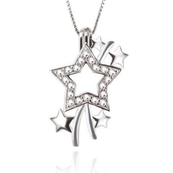 925 Sterling Silver Super Star Shaped Pearl Cage Pendant