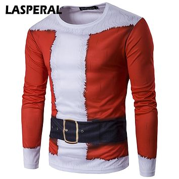 LASPERAL 2017 Autumn Novelty Fashion Santa Claus Costume Printed T Shirt Men 3D T Shirt Funny Christmas Style Male T Shirts