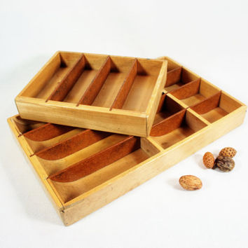 Vintage Wood Cash Register Drawer Inserts Home Decor