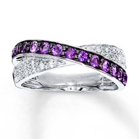 Amethyst Ring Lab-Created Sapphires Sterling Silver