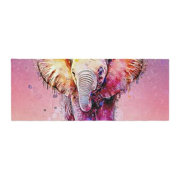 "Ancello ""Watercolor Elephant"" Purple Orange Digital Bed Runner"