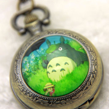 Necklace Pocket watch totoro by BEATAREN on Etsy