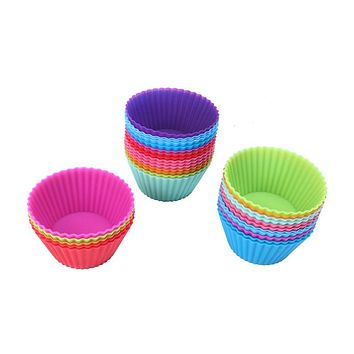 30pc/lot Round Silicone Muffin Cupcake Mould Case Bakeware Maker Tray Baking Cup Liner Baking Molds Pastry Tools For Cake