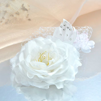 Pure Silk Wedding Hair Flower-Wedding Hair Piece-Bridal Hair Piece with Swarovski Crystal and Pearl, Swarovski Rhinestones and Russian Veil