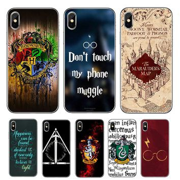 Harry Potter Deathly Hallows Symbol Map phone Case For iPhone 7 6S 5S 5 se 7s 8 Plus Soft TPU Silicone Cover for iPhone X Case