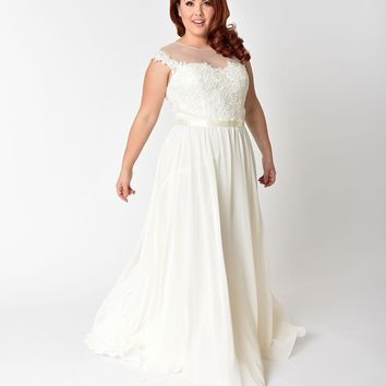 Plus Size Ivory Chiffon & Floral Lace Embellished Wedding Gown