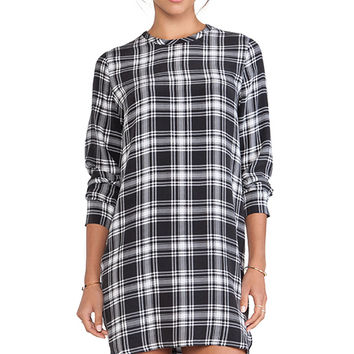 Equipment Owen After Dark Plaid Dress in Black & White