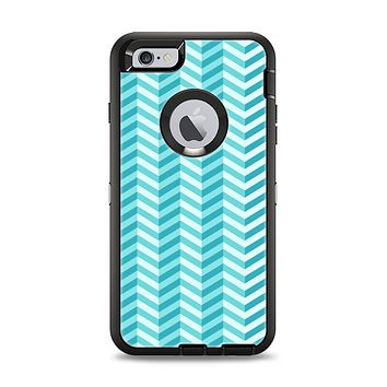 The Light Blue Thin Lined Zigzag Pattern Apple iPhone 6 Plus Otterbox Defender Case Skin Set