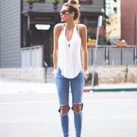 V-Neck Vest Loose Tank Tops Camisole And Hole Jeans T092323