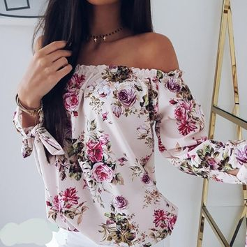 Land Of Rose's Women Beach Top Off Shoulder Floral Blouse