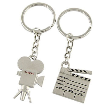 New 1 Pair Metal Silver Tone Film Clipboard Camera Pendent Lovers Love Key Chain Souvenirs Valentine's Day gift