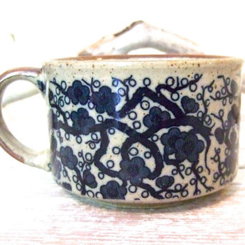 Otagiri Style Stoneware Soup Mug | Vintage Japanese Stoneware | Cobalt Blue Flowers and Vines | Ceramic Mug | Speckled Mug | Collectable