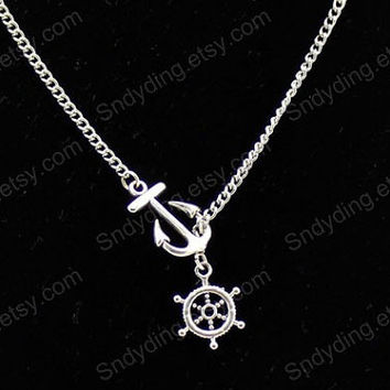 handmade ancient  Silver  Nautical Lariat  Necklace with Anchor and Steering Wheel Pendants  ancient  Silver Nautical Necklace