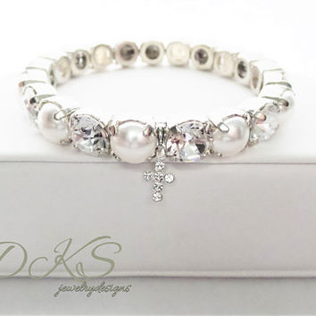 Swarovski First communion, Flower Girl, Confirmation Stretch Bracelet, Cross Charm, faith, Pearls, Crystal, DKSJewelrydesigns, FREE SHIPPING