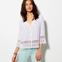 AE BUTTON FRONT PEASANT TOP