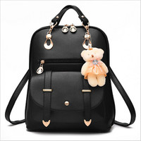 Women  Leather Backpacks  Travel Bag Solid Candy Color