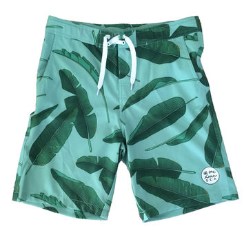 Walk-Surf-Swim Shorts in Banana Leaves Print- Men's