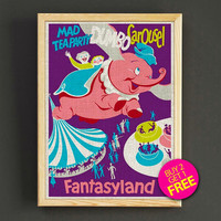 Fantasyland Dumbo Carousel Poster Vintage Disneyland Attraction Print Home Wall Decor Gift Linen Print - Buy 2 Get 1 FREE - 352s2g