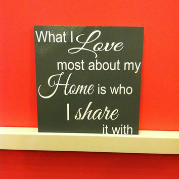 What I Love Most About My Home 12x12 Wood Sign
