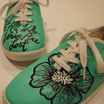 Hand Painted Teal with Poppy And Quote Canvas Shoes