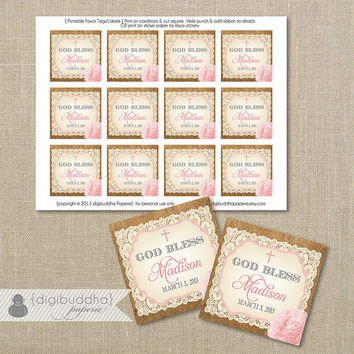 """Baptism Favor Tags Lace Burlap Pink Watercolor Rose Flower Christening Baby Shower Thank You 2.25"""" Square DIY Printable or Printed - Madison"""