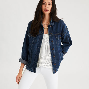 AE Tinted Dark Denim Boyfriend Jacket, Dark Vintage Wash