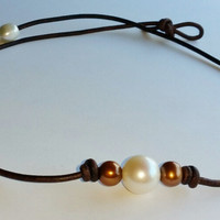 Freshwater White and Copper Brown Choker/Necklace