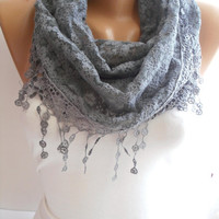 Gray Lace Shawl / Scarf  Headband  Cowl with Lace Edge by DIDUCI