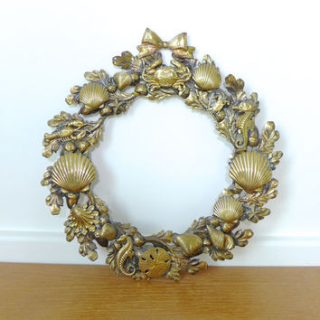 Detailed metal sea life wreath with shells, sand dollars, starfish, oak leaves, Petites Choses style