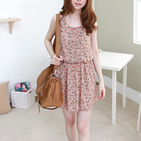 Lovely Chiffon Little Triangle Print Tank Pleated Dress 2 Colors