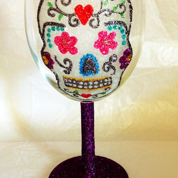 Glitter skull wine glass