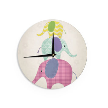 "Noonday Design ""Balancing Act "" Multicolor Kids Wall Clock"