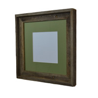 12x12 knotty gray and brown picture or print frame with mat for 10x10 and smaller photos