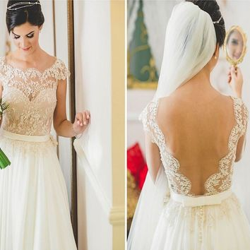 Sexy Sheer Beach Wedding Dress 2016 Romantic Chiffon Short Sleeve Lace Vestido De Noiva Summer Boho Bridal Gowns