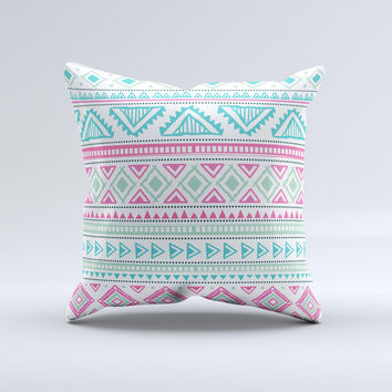 The Doodle Aztec Pattern ink-Fuzed Decorative Throw Pillow