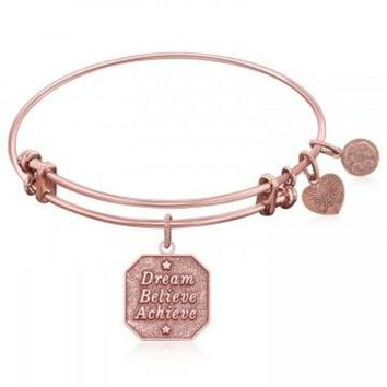 ac NOVQ2A Expandable Bangle in Pink Tone Brass with Dream Believe Achieve Symbol