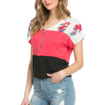 Flower Field Black and Coral Short Sleeve Top